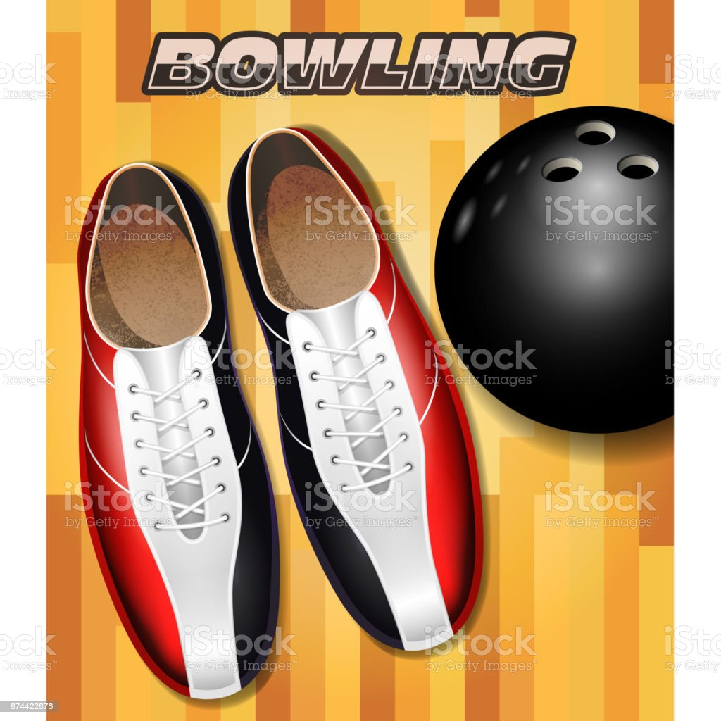 Bowling shoes and ball on bowling court parquet surface vector art illustration