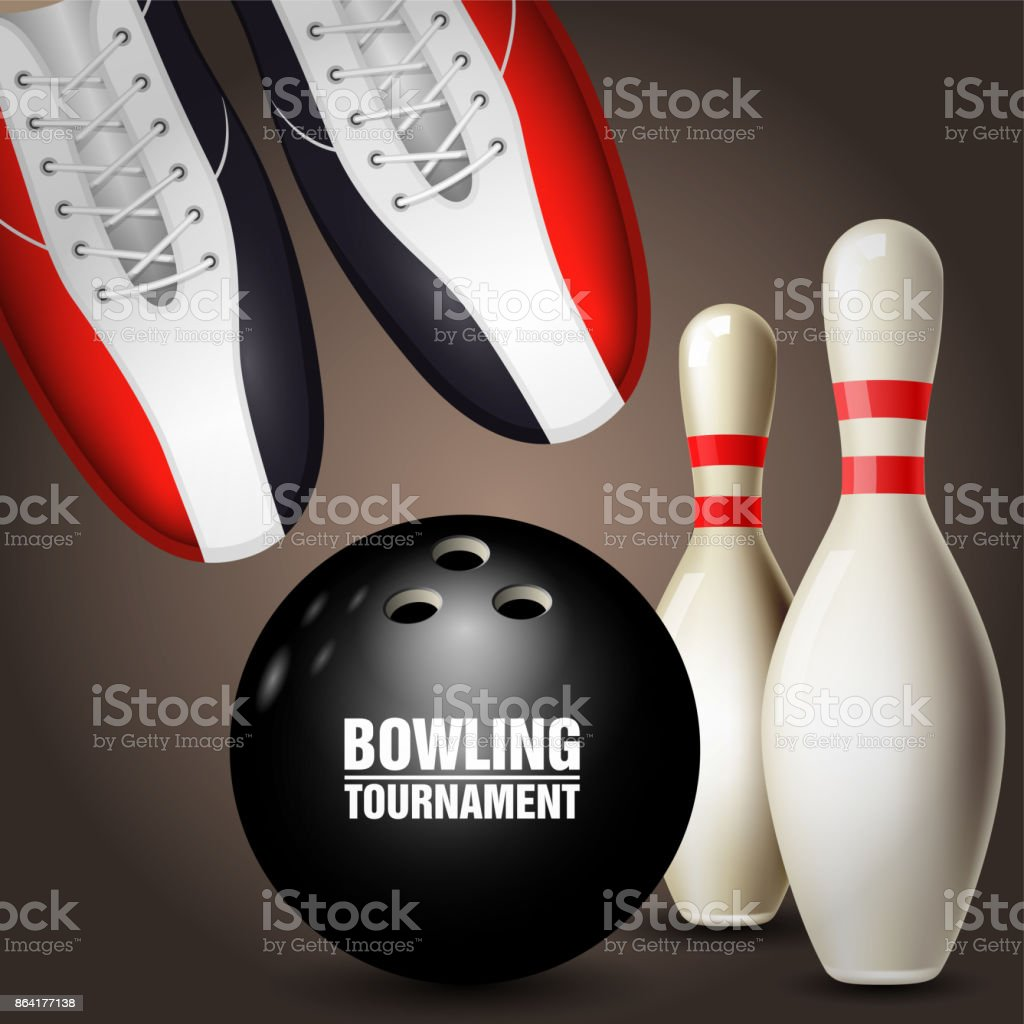 Bowling shoes, skittles and ball - bowling tournament poster royalty-free bowling shoes skittles and ball bowling tournament poster stock vector art & more images of ball