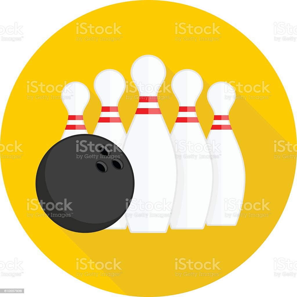 Bowling single icons. vector art illustration