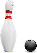 Bowling. Skittle and ball.