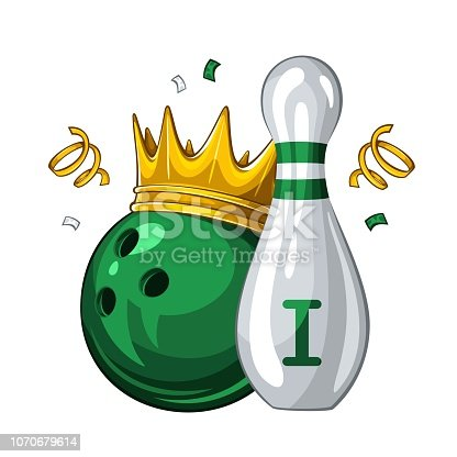 istock Bowling skittle and bowling ball in golden crown. Bowling award for 1st place. Champion 1.1 1070679614