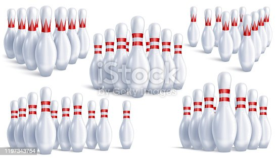 Skittles for bowling. Five sets of ten in each, arranged for the game. Different angles and types. In realistic 3D style isolated on white background. Vector illustration.