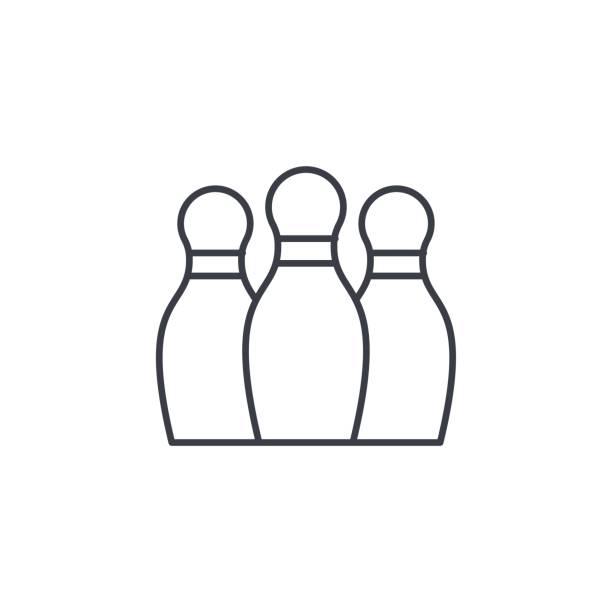Bowling Skittles thin line icon. Linear vector symbol vector art illustration