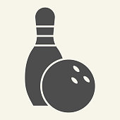 istock Bowling solid icon. Bowling pin and ball glyph style pictogram on beige background. Sport and recreation signs for mobile concept and web design. Vector graphics. 1220806419