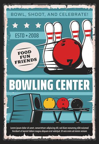 Bowling sport center, team club vintage poster