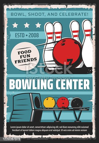 Bowling center, sport game club and league tournament vintage retro poster. Vector bowling game club, balls and skittle pins equipment for strike, hobby entertainment and professional championship