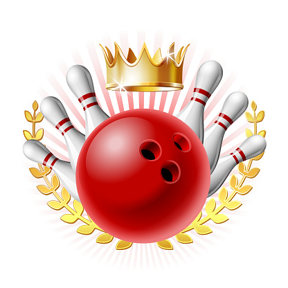 Bowling sport emblem with red glossy ball, bowling pins and golden crown of winner.