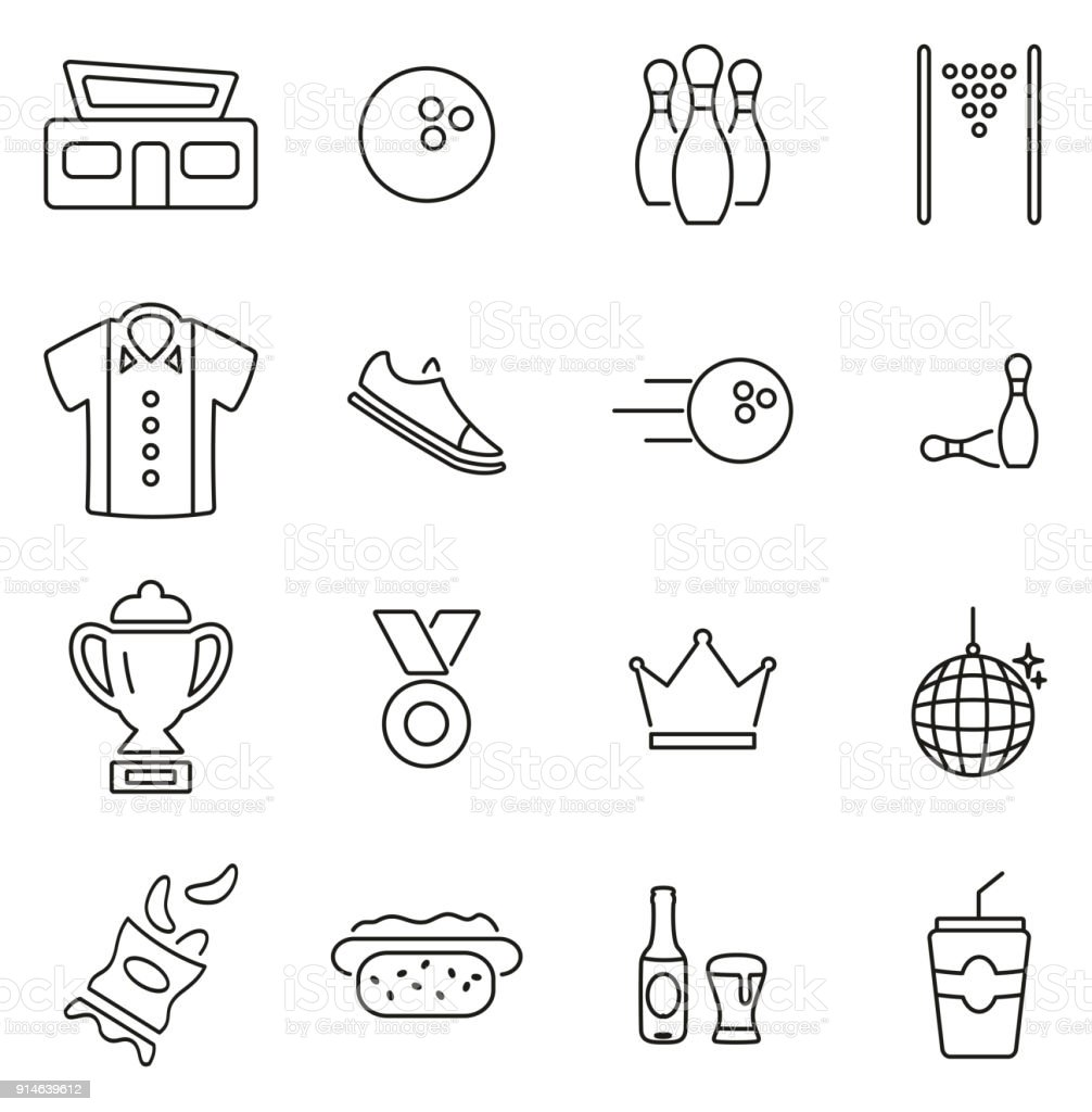 Bowling Sport & Equipment Icons Thin Line Vector Illustration Set vector art illustration