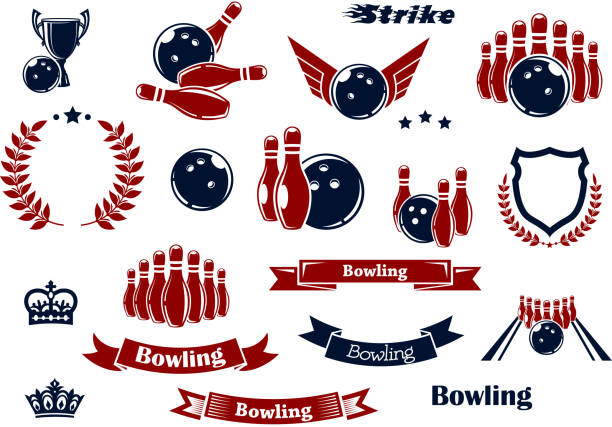 Bowling sport items and design elements vector art illustration