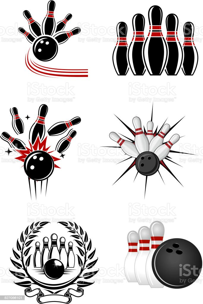 Bowling sports emblems and symbols vector art illustration