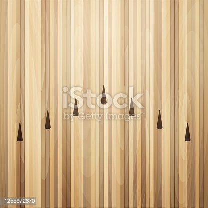 istock Bowling street wooden floor. Bowling alley background 1255972670