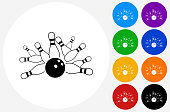 Bowling Strike Icon on Flat Color Circle Buttons. This 100% royalty free vector illustration features the main icon pictured in black inside a white circle. The alternative color options in blue, green, yellow, red, purple, indigo, orange and black are on the right of the icon and are arranged in two vertical columns.