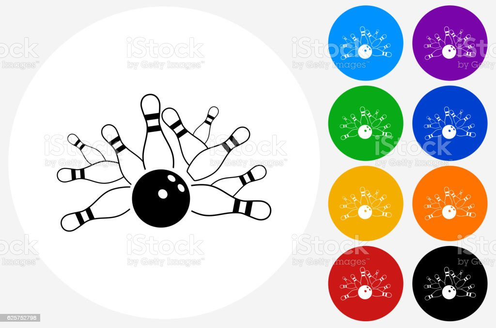 Bowling Strike Icon on Flat Color Circle Buttons - ilustración de arte vectorial