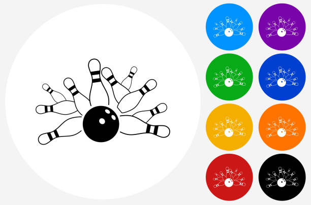 Bowling Strike Icon on Flat Color Circle Buttons vector art illustration