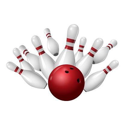 Bowling strike icon, realistic style