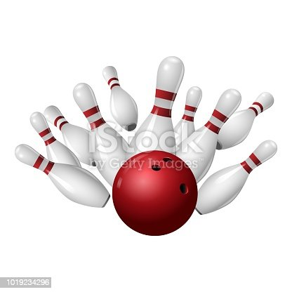 istock Bowling strike icon, realistic style 1019234296