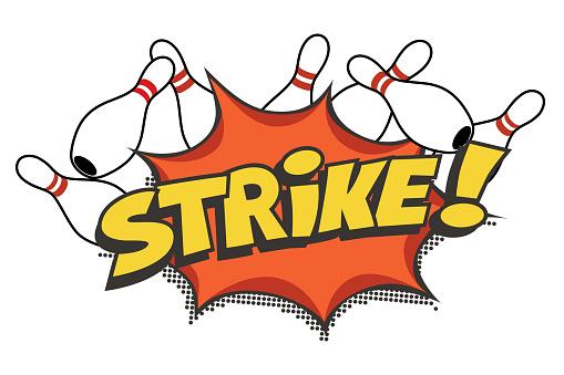 Bowling strike pop art design on white background