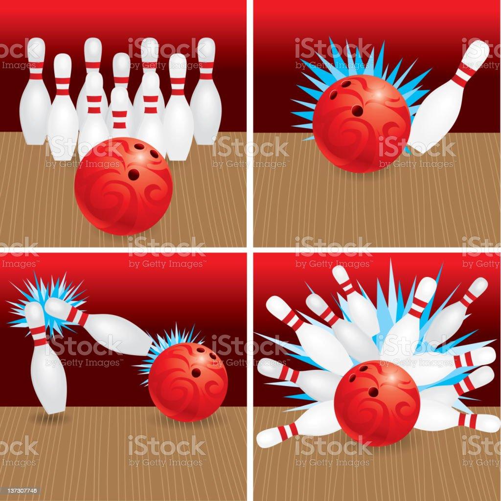 Bowling, Strike, Split and Spare vector art illustration