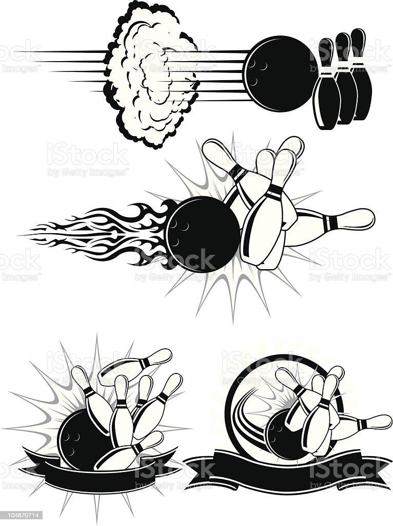 Bowling Strike vector art illustration
