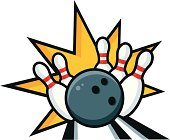 Bowling ball knocking down pins illustration. All colors are global and items are logically layered. No gradients used.