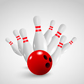 Bowling strike vector illustration. Bowling game leisure concept.