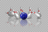 Bowling strike with mirror reflection isolated on transparent background. Vector bowling design element