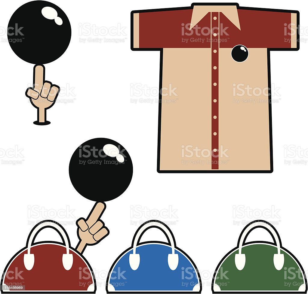 Bowling Stuff vector art illustration