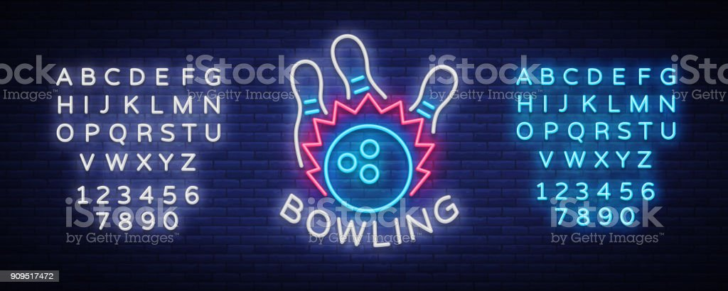 Bowling symbol vector. Neon sign, symbol, bright banner advertising bright night bowling, luminous neon billboard. Design template for the Bowling Club symbol. Vector illustration. Editing text neon sign vector art illustration