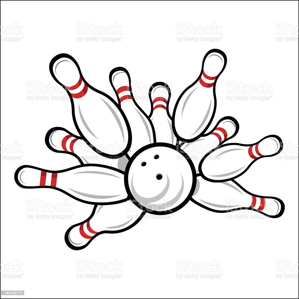 Bowling team or club emblem vector art illustration