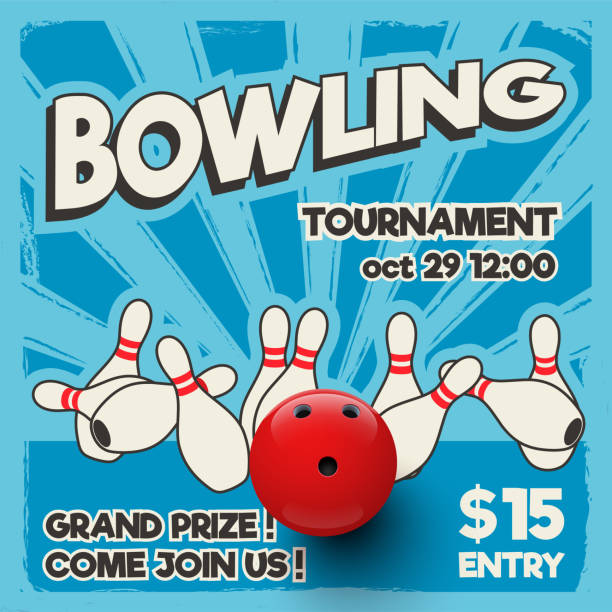 Bowling tournament design template. Vector realistic bowling strike on pop art background. Bowling tournament design template. Vector realistic bowling strike on pop art background. ten pin bowling stock illustrations