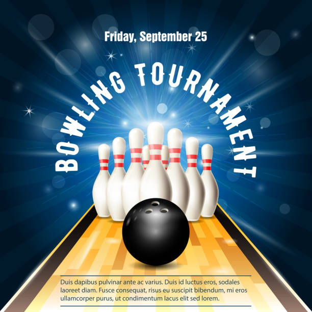 Bowling tournament flyer template with bowling court, skittles and ball vector art illustration