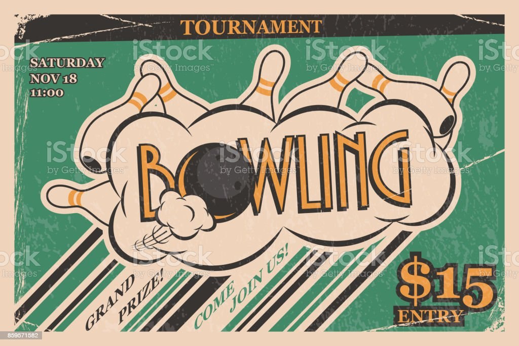 Bowling tournament invitation vintage poster. Bowling strike in retro bowling tournament poster design concept. Vector illustration. vector art illustration