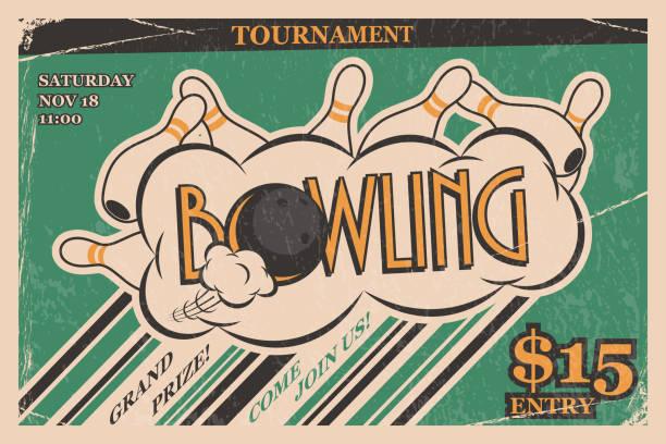 Bowling tournament invitation vintage poster. Bowling strike in retro bowling tournament poster design concept. Vector illustration. vector art illustration