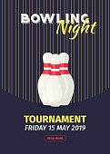 Bowling Tournament Poster Ball and Skittles Composition Vector Illustration Template. Sport Championship Battle Card. Play Bowling Party Competition.