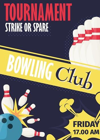 Bowling Tournament Poster Invitation Vector Illustration.