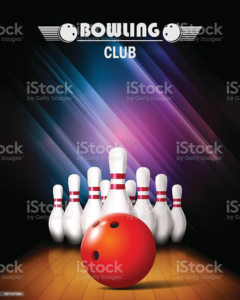 Bowling tournament-poster. – Vektorgrafik