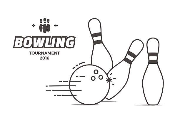 Bowling tournament poster vector art illustration