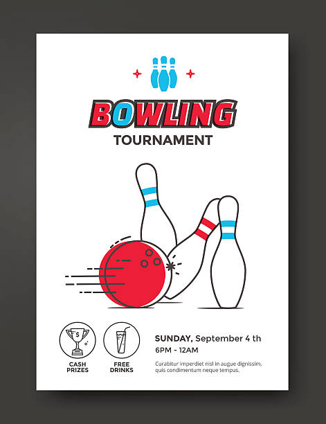 Bowling tournament poster vector art illustration
