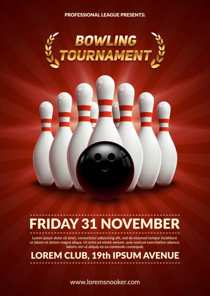 Bowling tournament poster. Bowling tournament poster. 3d ball and skittles composition. Eps10 vector template. ten pin bowling stock illustrations