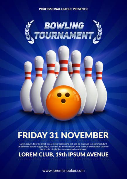 Bowling tournament poster. vector art illustration