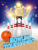 Bowling tournament poster design template. Vector realistic illustration of bowling ball, skittles, award trophy and bowling alley.