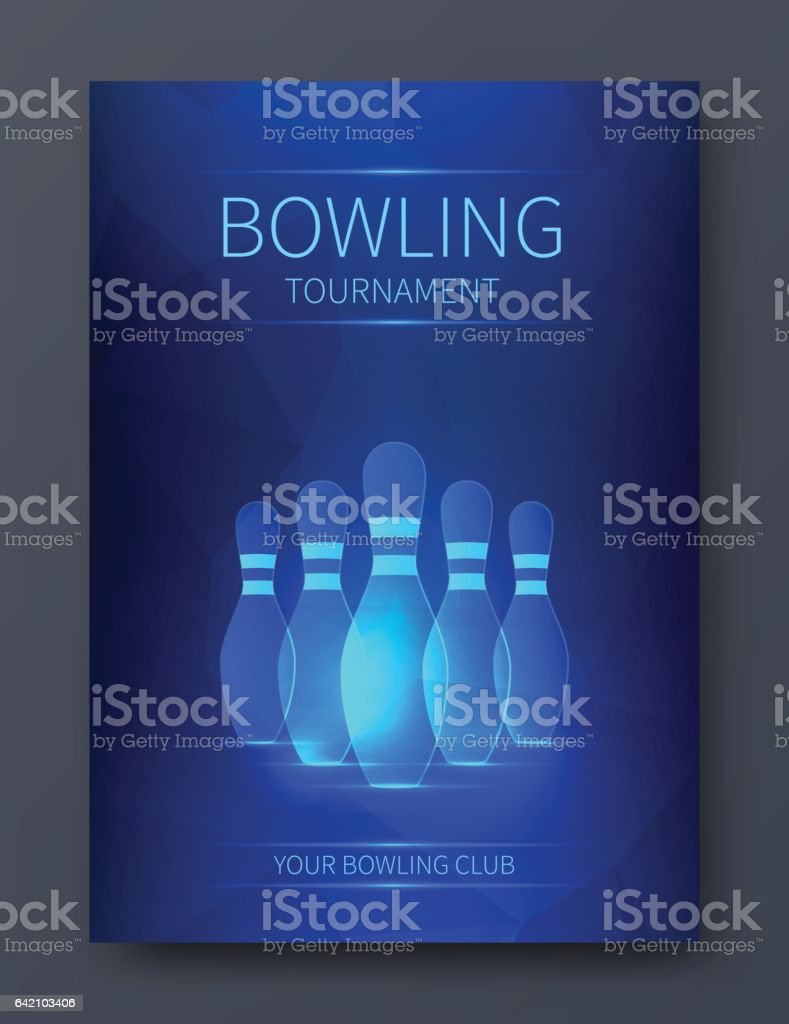 Bowling tournament poster vector template. Flyer with neon bowling skittles. vector art illustration