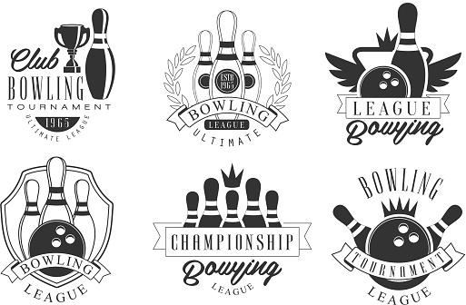 Bowling Tournament Retro Labels Set, Championship League Monochrome Badges Vector Illustration
