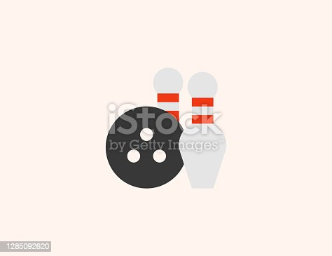 Bowling vector icon. Isolated bowling strike, ball flat colored symbol