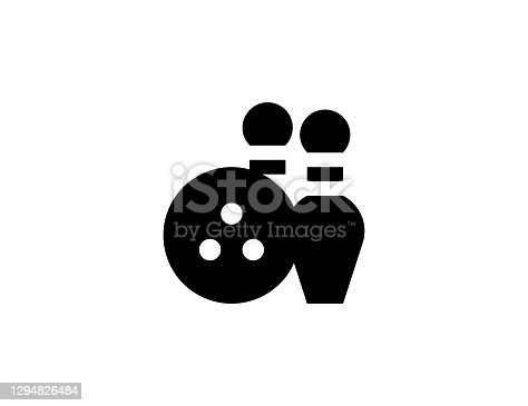 Bowling vector icon. Isolated bowling strike, ball flat symbol