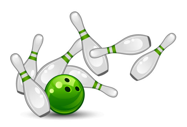 Bowling Bowling on a white background ten pin bowling stock illustrations