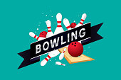 Vector of bowling badge design with bowling ball.