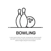 Bowling Vector Line Icon - Simple Thin Line Icon, Premium Quality Design Element