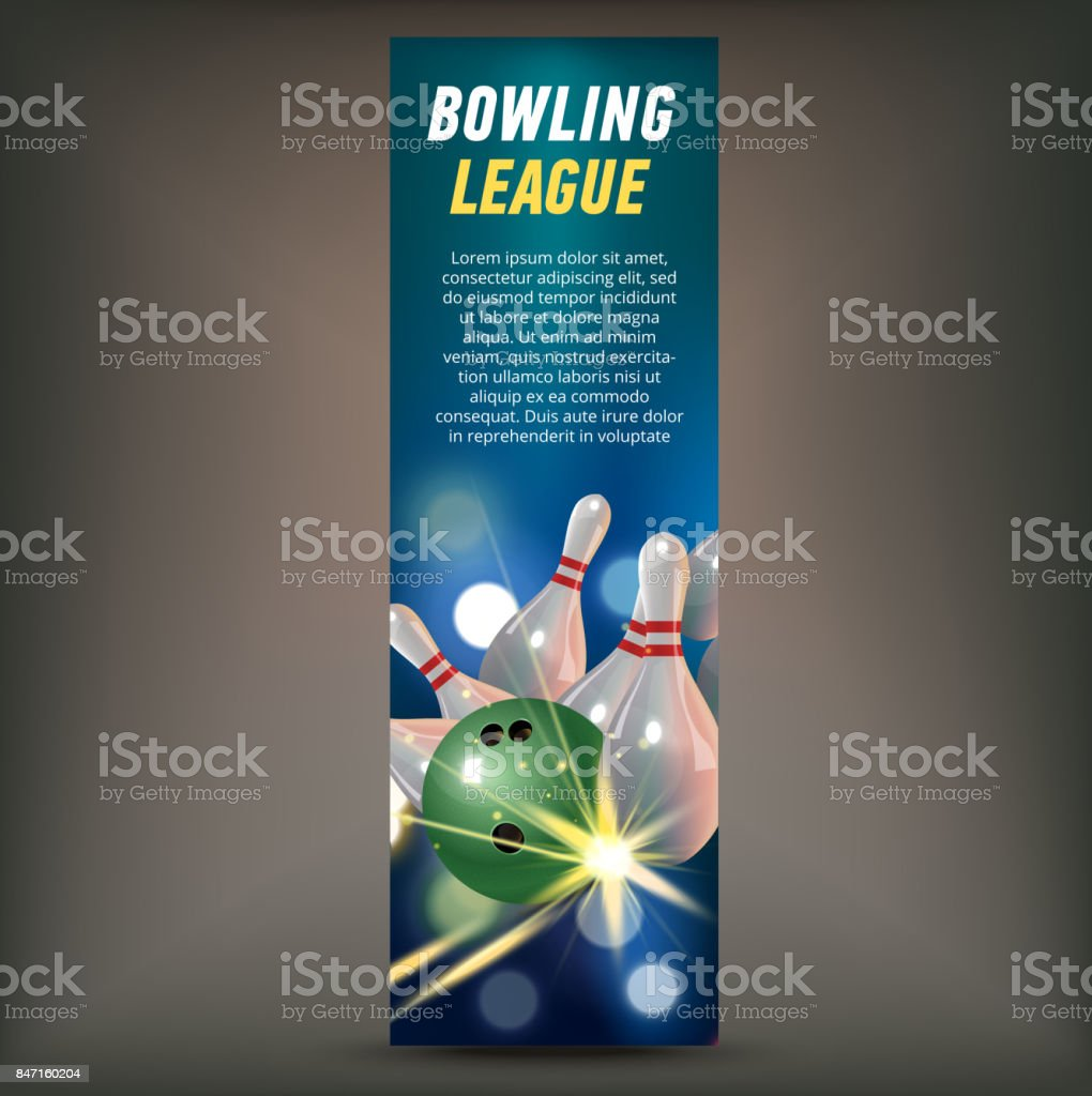 Bowling vertical banner with bowling champ club and leagues symbols realistic isolated vector art illustration