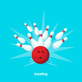 bowling ball and bowling pins, flat vector image